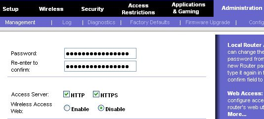 Disable Wireless Web Access
