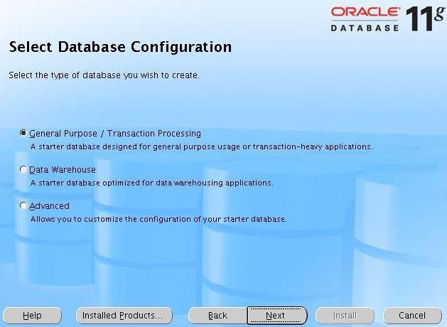 [Select Database Configuration]