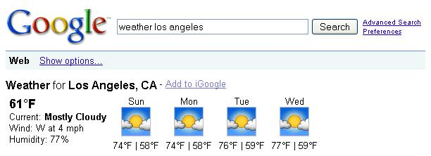 Google Weather Forecast for Local City